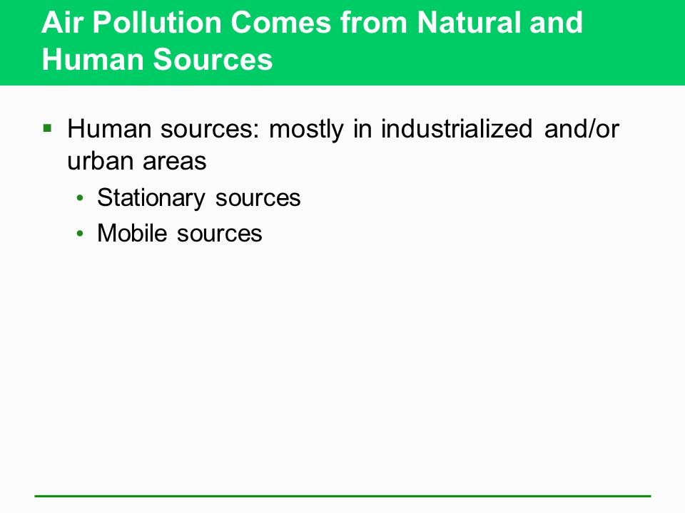 Air Pollution Comes from Natural and Human Sources