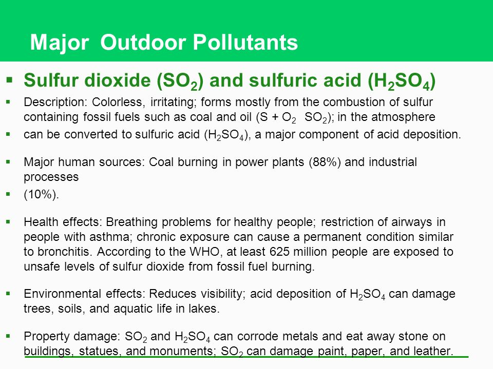 Major Outdoor Pollutants