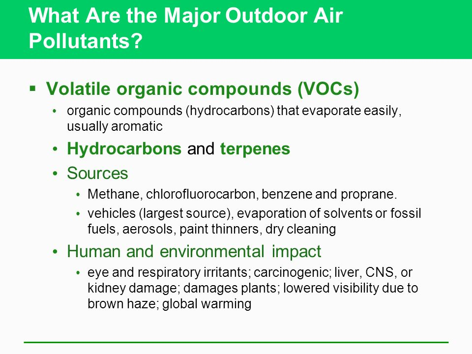 What Are the Major Outdoor Air Pollutants
