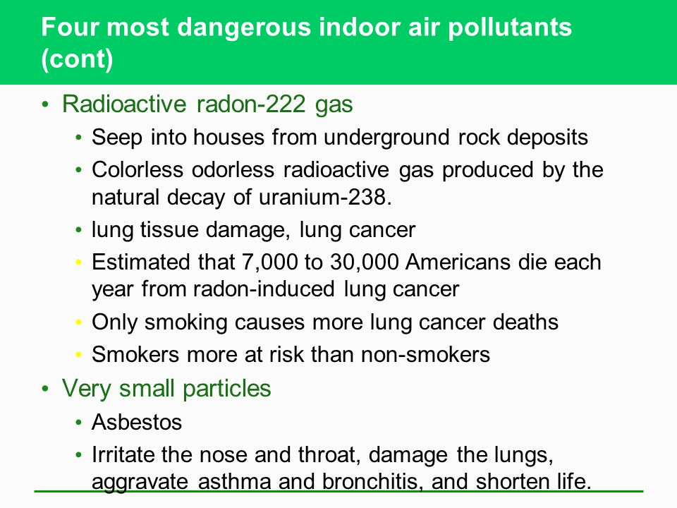 Four most dangerous indoor air pollutants (cont)