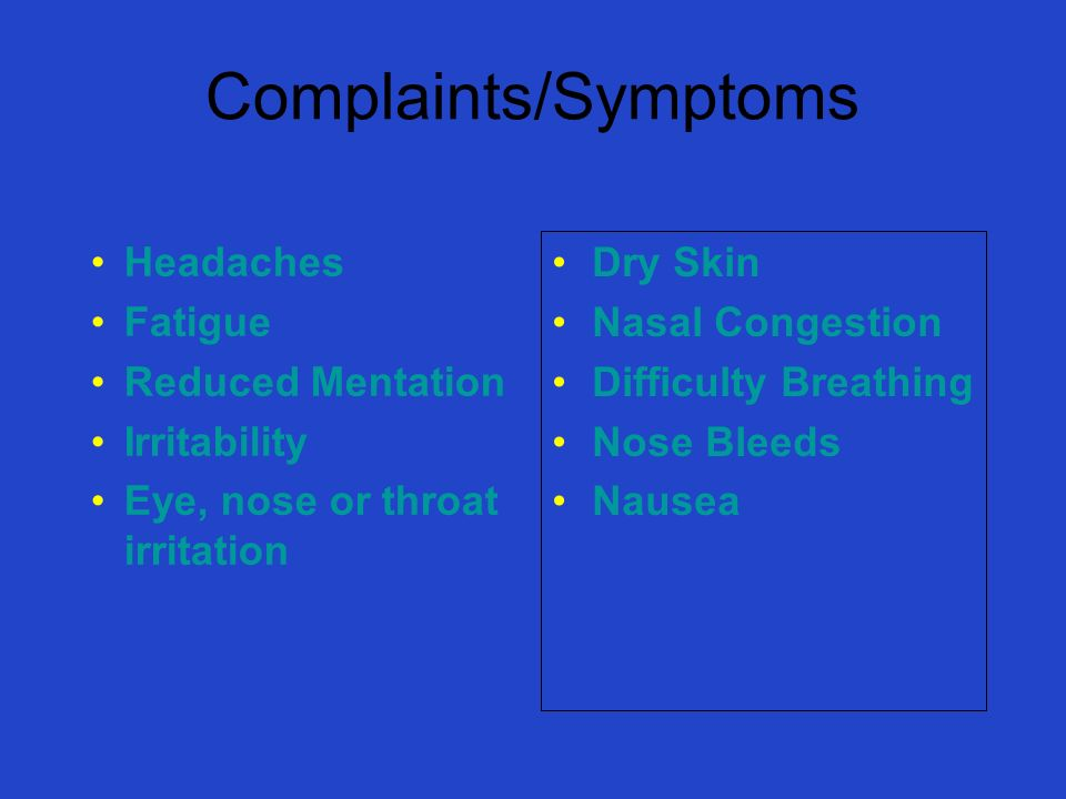 Complaints/Symptoms Headaches Fatigue Reduced Mentation Irritability