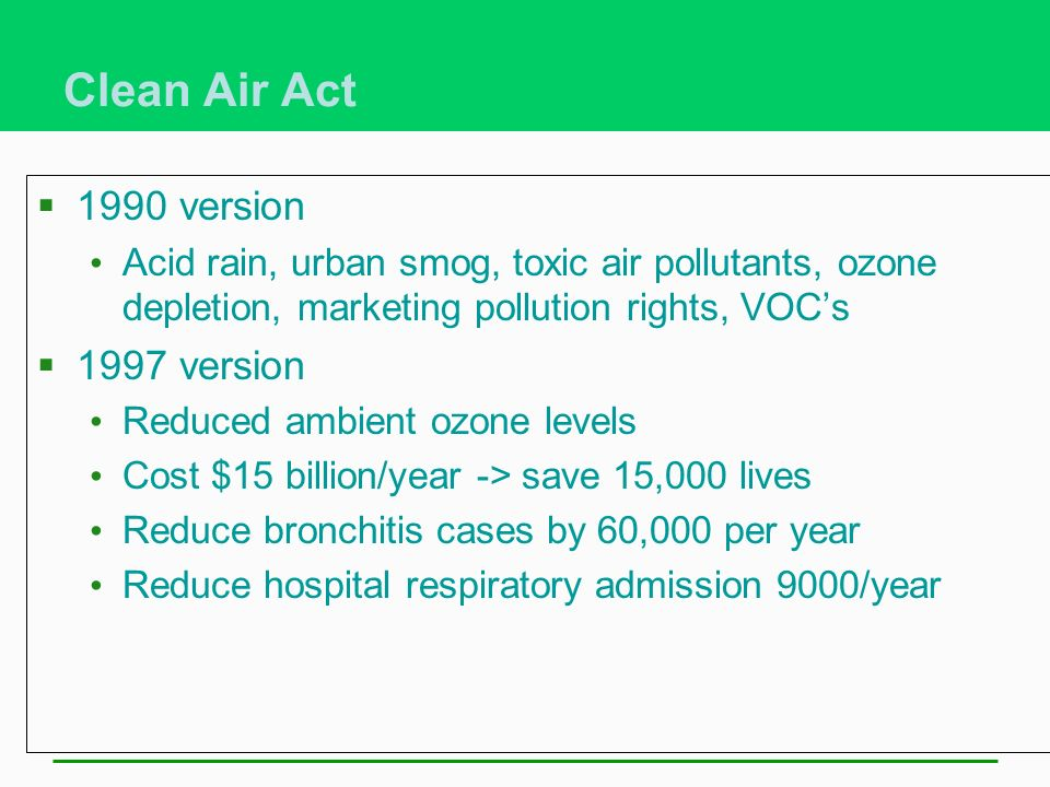 Clean Air Act 1990 version 1997 version