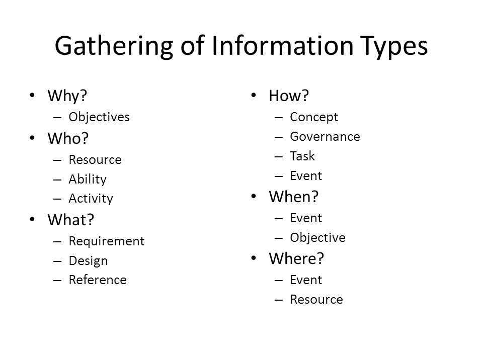 Gathering of Information Types