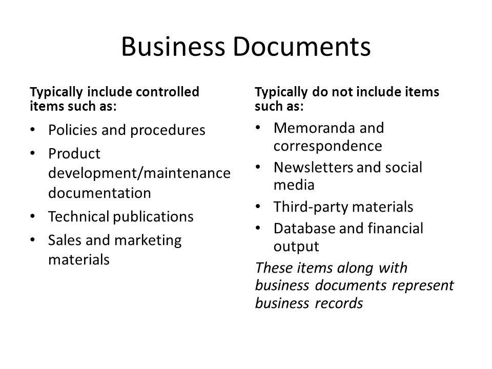 Business Documents Policies and procedures