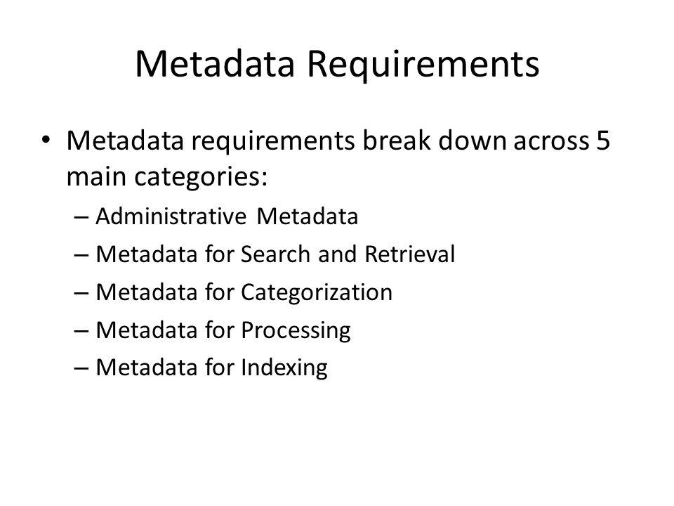 Metadata Requirements