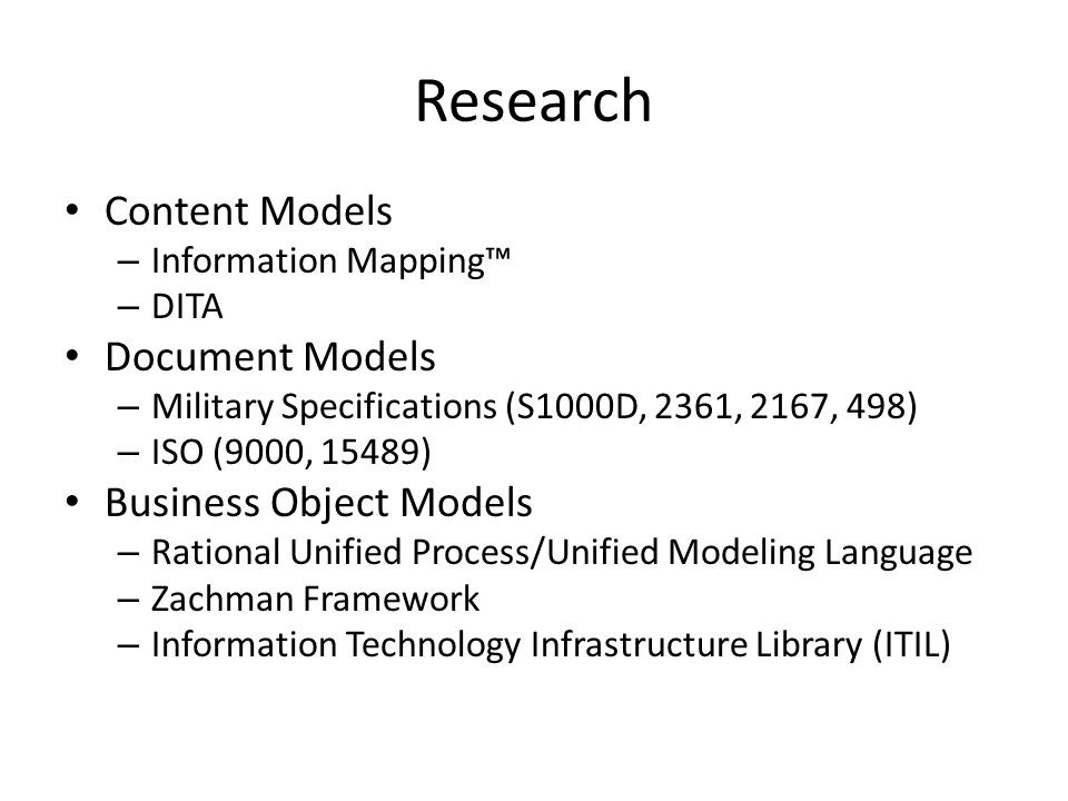 Research Content Models Document Models Business Object Models