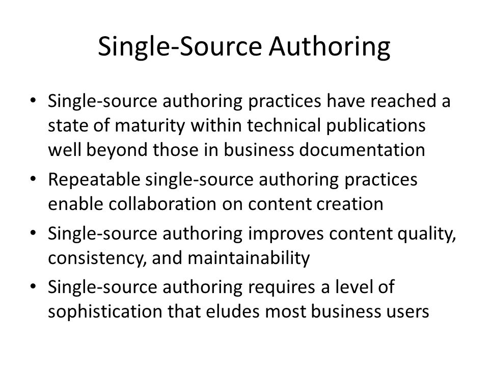 Single-Source Authoring