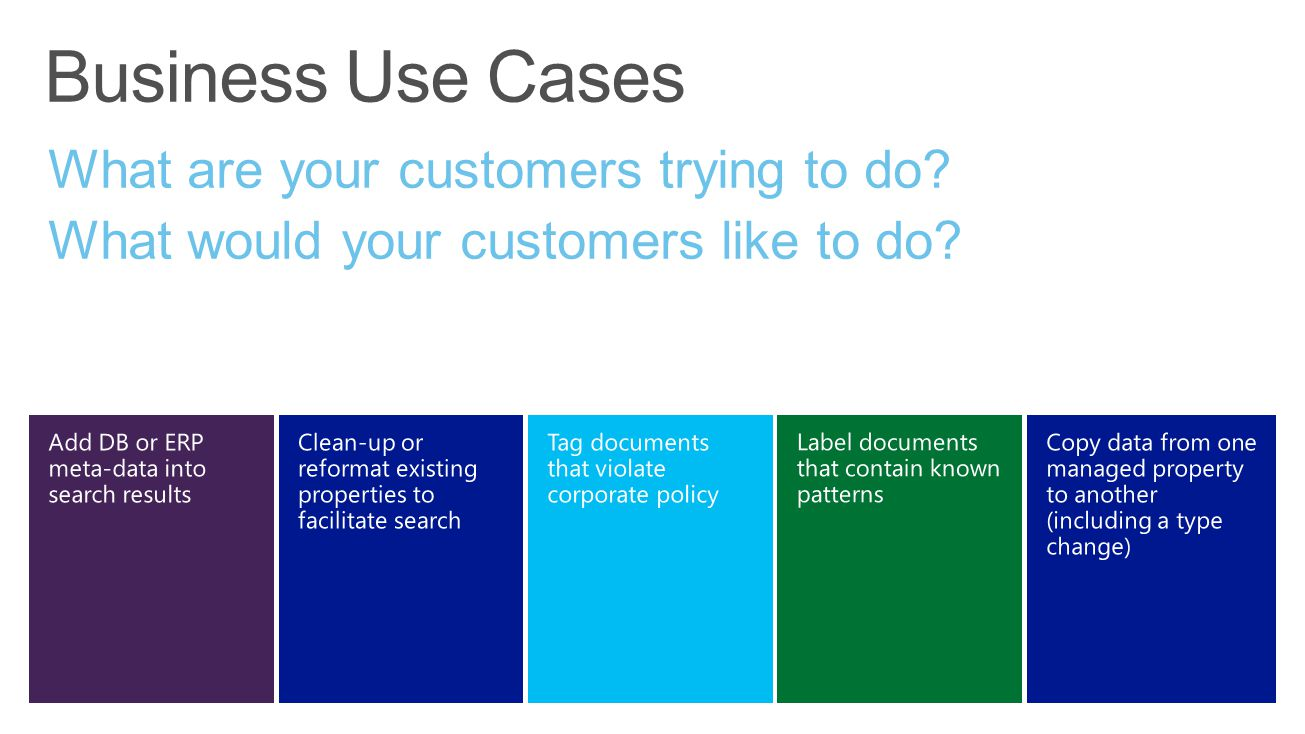 Business Use Cases What are your customers trying to do