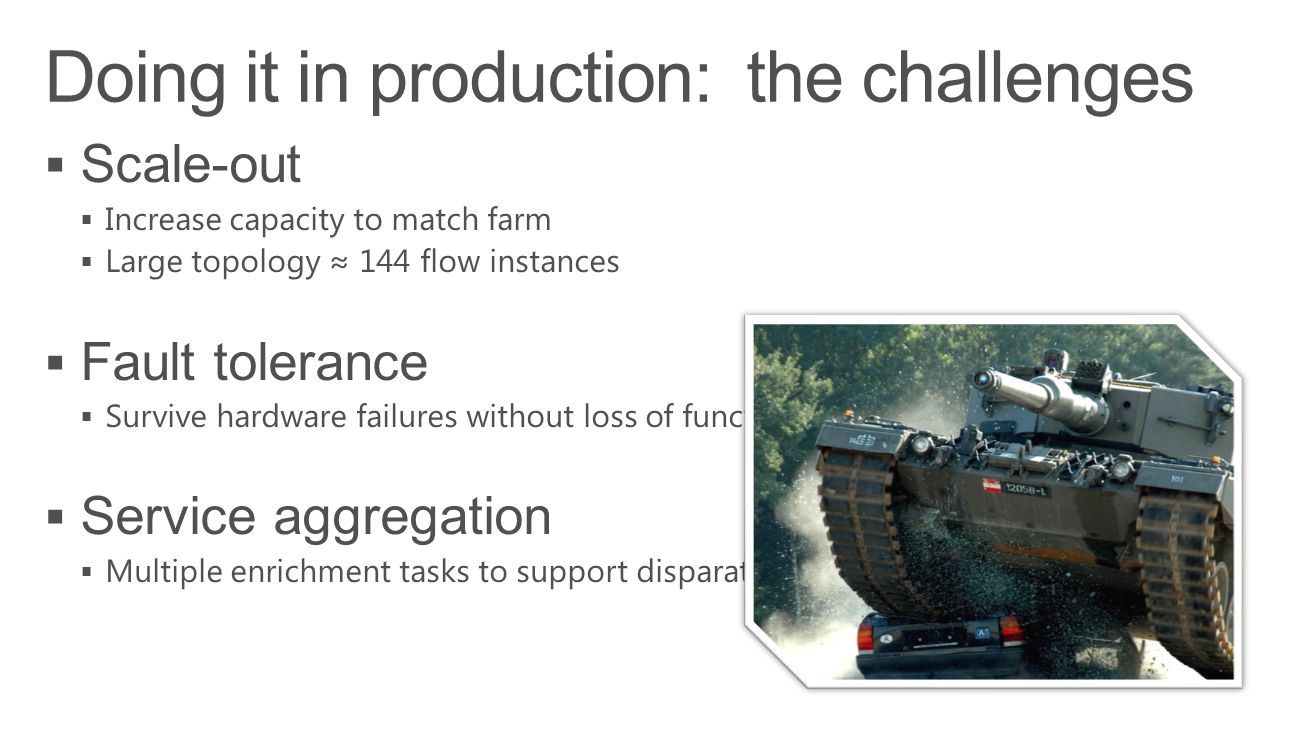 Doing it in production: the challenges