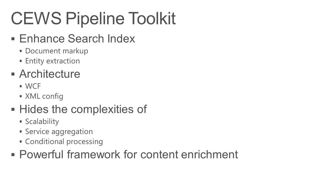 CEWS Pipeline Toolkit Enhance Search Index Architecture