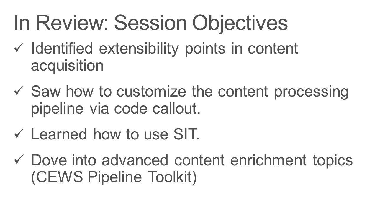 In Review: Session Objectives