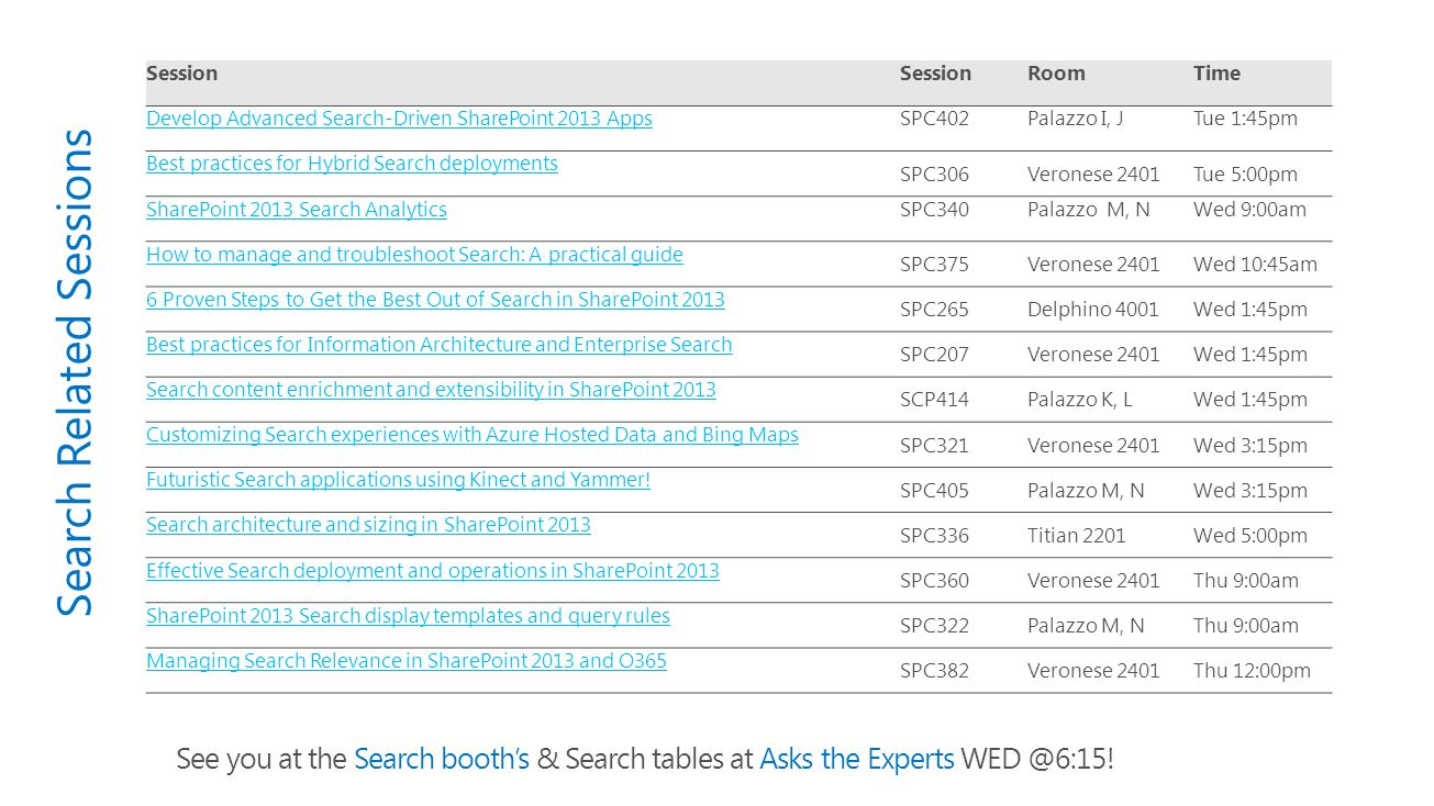 Search Related Sessions