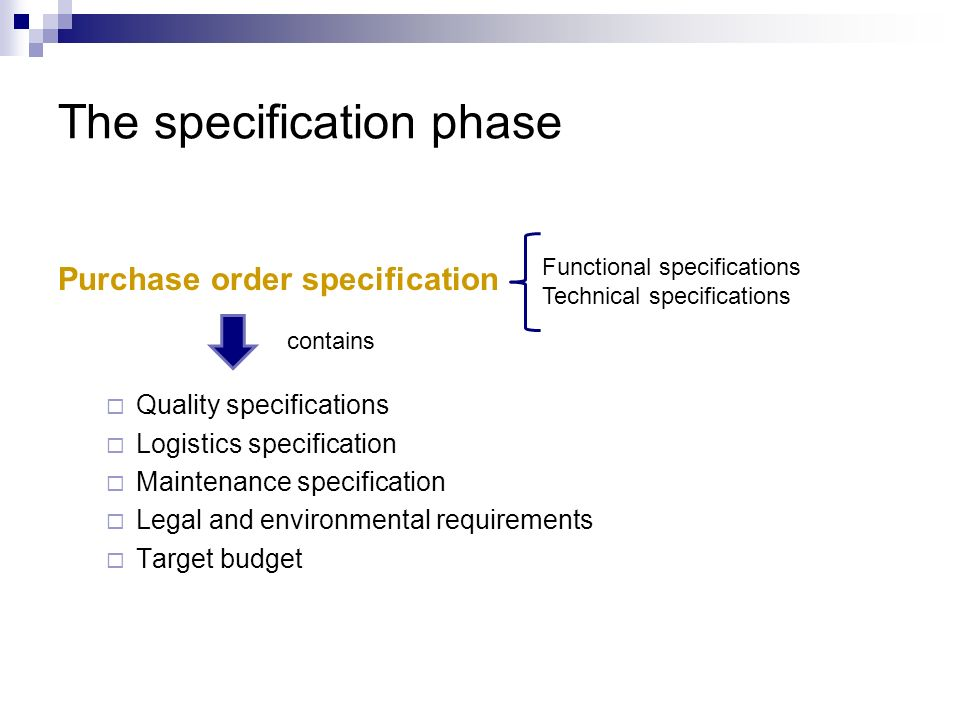 The specification phase