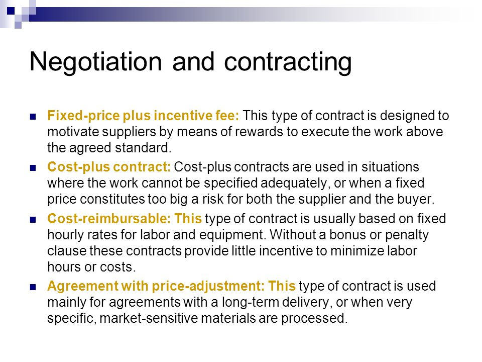 Negotiation and contracting