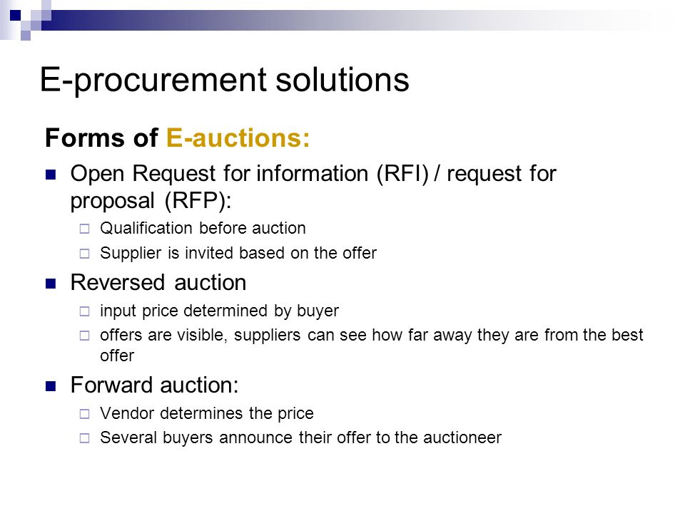 E-procurement solutions
