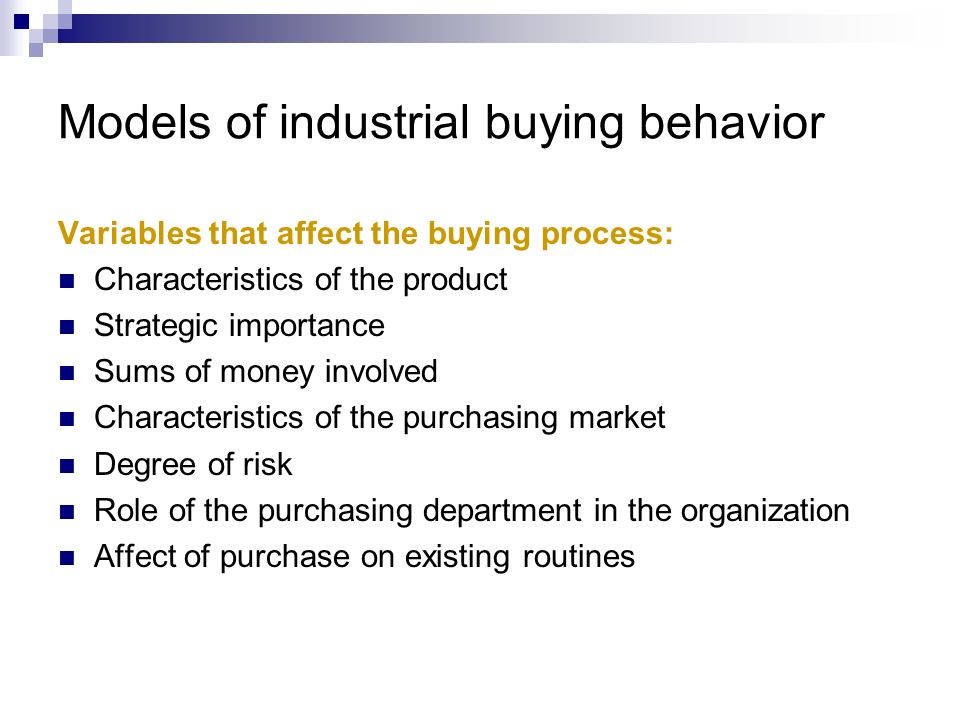 Models of industrial buying behavior