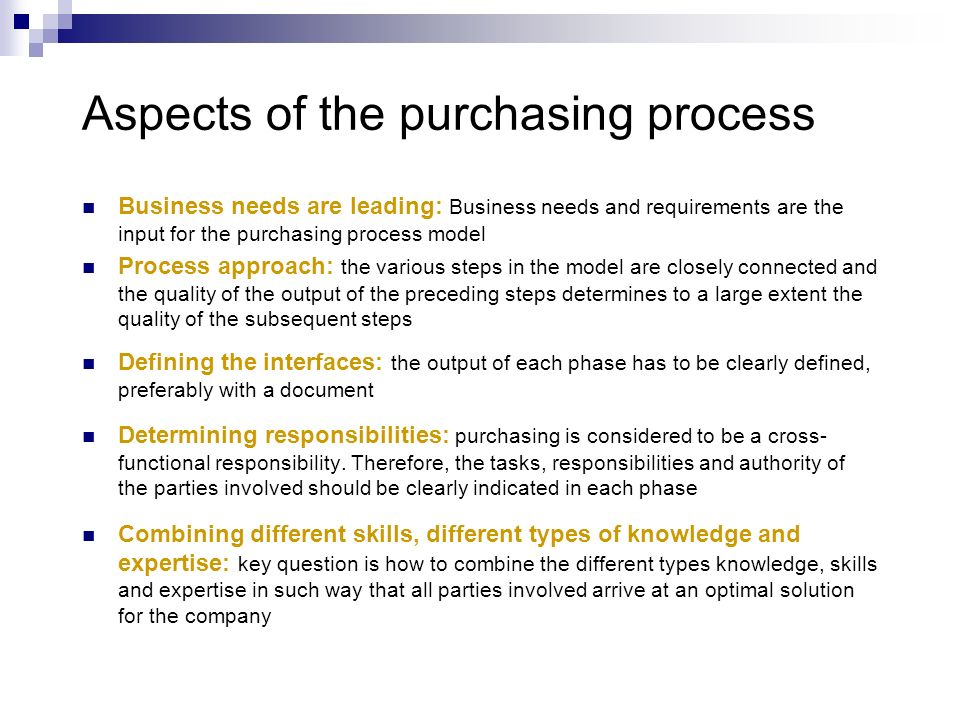 Aspects of the purchasing process