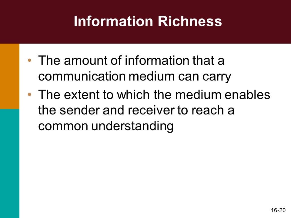 Information Richness The amount of information that a communication medium can carry.