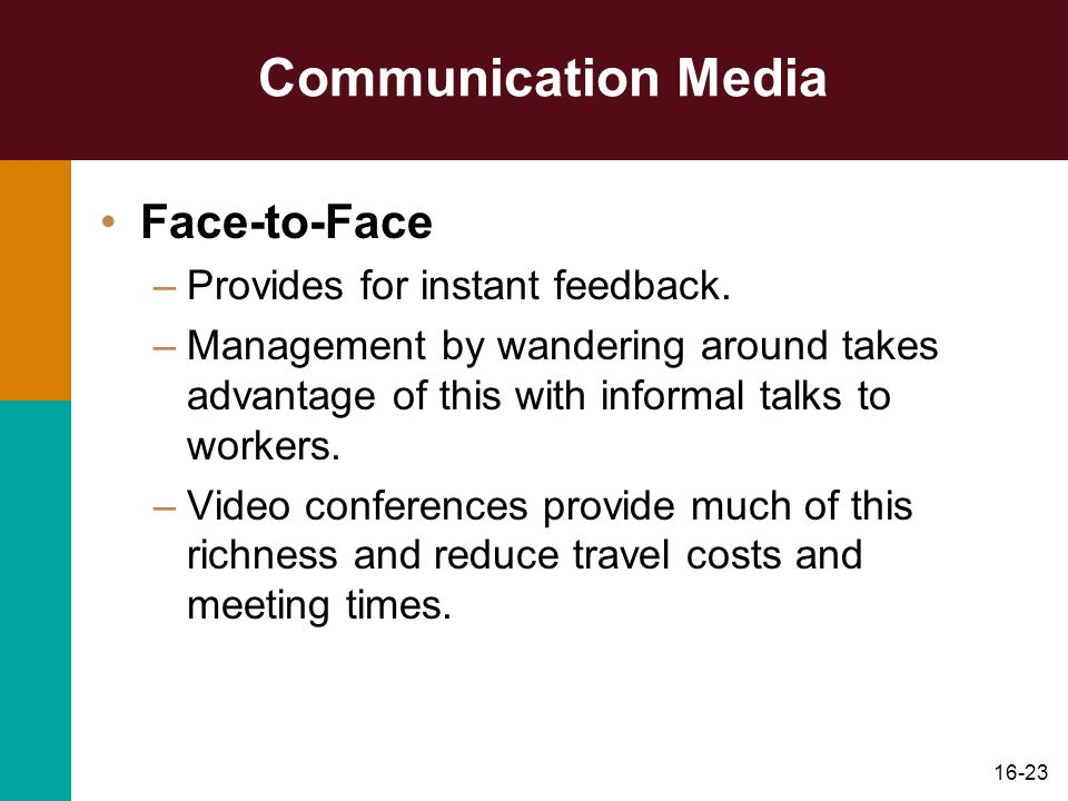 Communication Media Face-to-Face Provides for instant feedback.