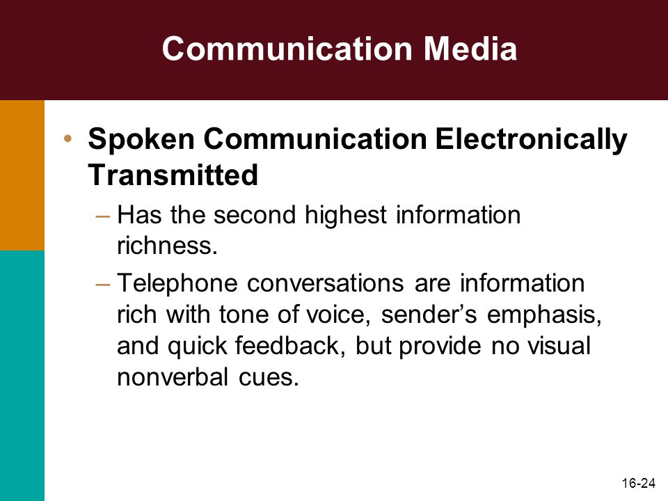 Communication Media Spoken Communication Electronically Transmitted