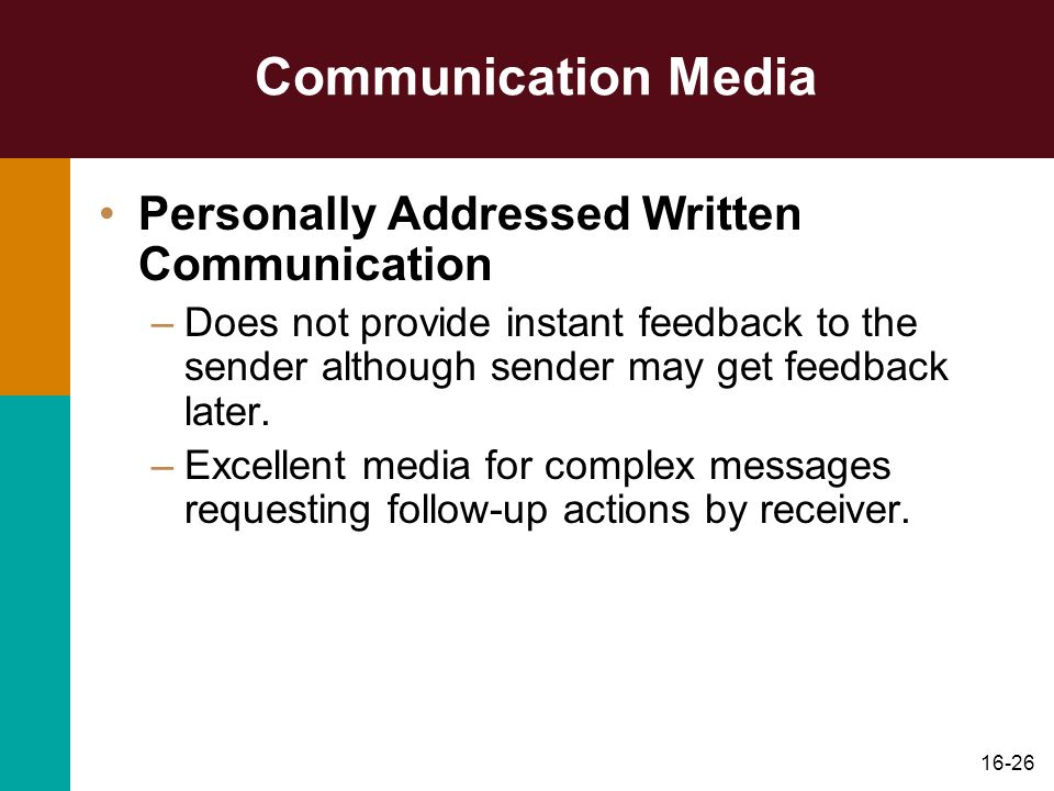 Communication Media Personally Addressed Written Communication
