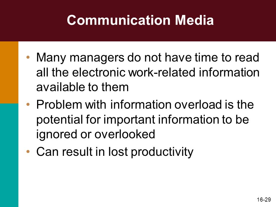Communication Media Many managers do not have time to read all the electronic work-related information available to them.