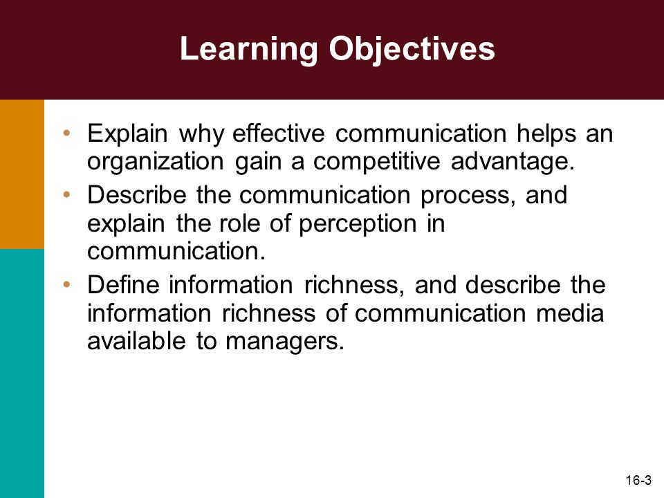 Learning Objectives Explain why effective communication helps an organization gain a competitive advantage.