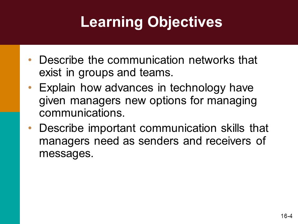 Learning Objectives Describe the communication networks that exist in groups and teams.
