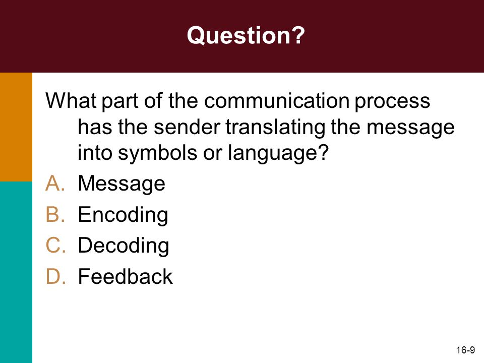 Question What part of the communication process has the sender translating the message into symbols or language