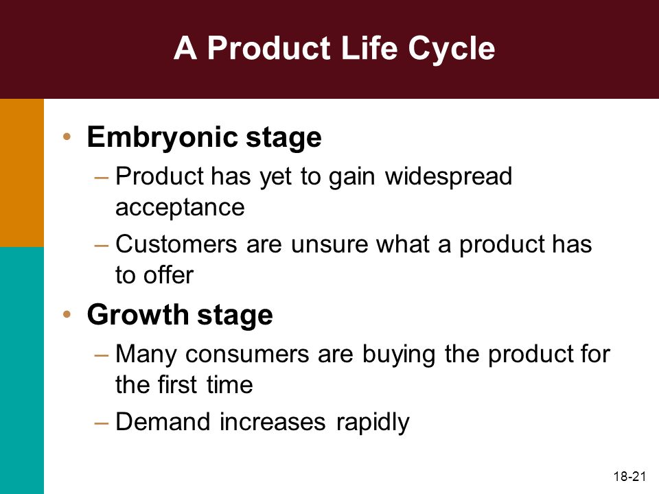 A Product Life Cycle Embryonic stage Growth stage