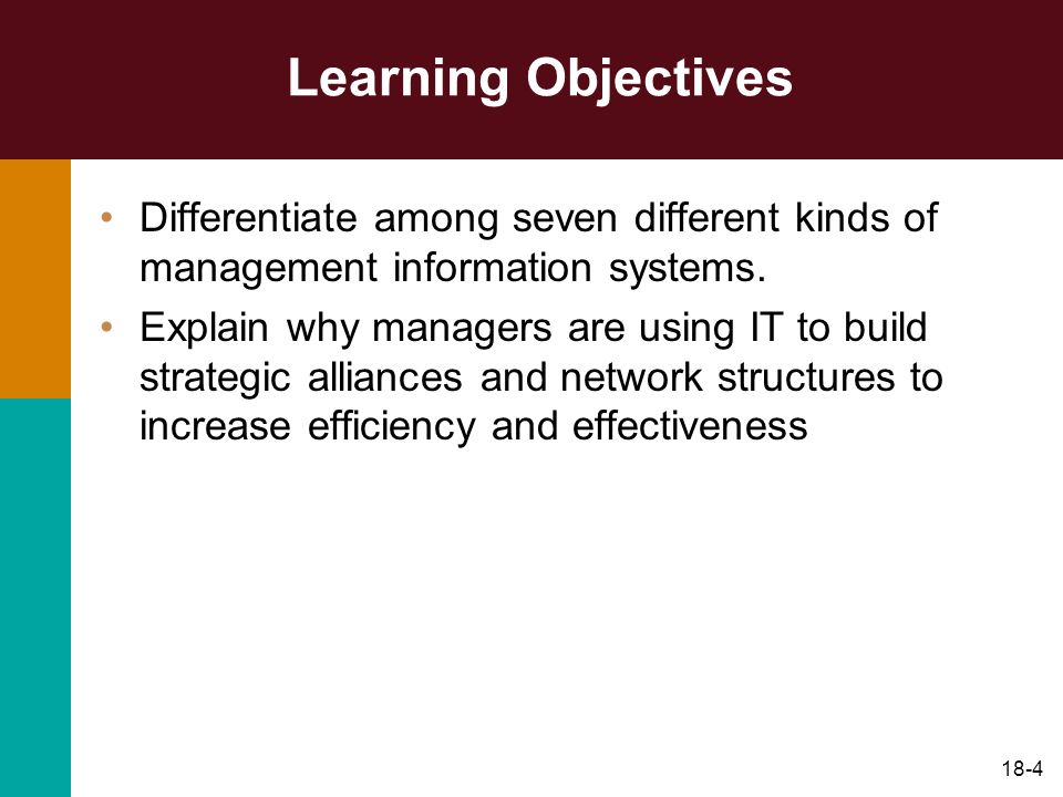Learning Objectives Differentiate among seven different kinds of management information systems.