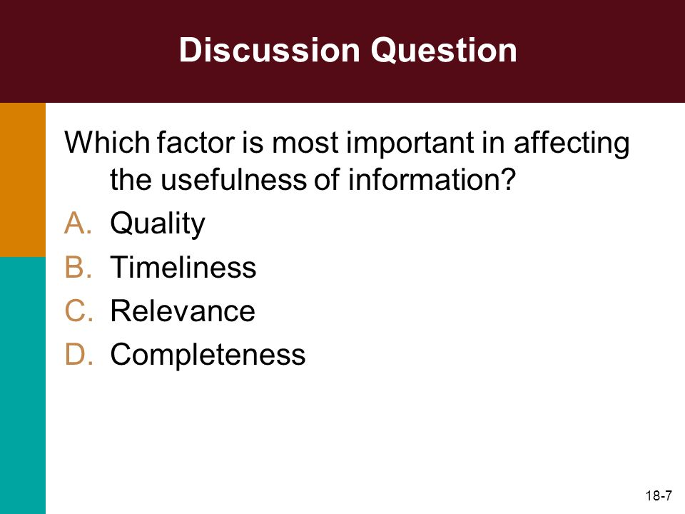 Discussion Question Which factor is most important in affecting the usefulness of information Quality.