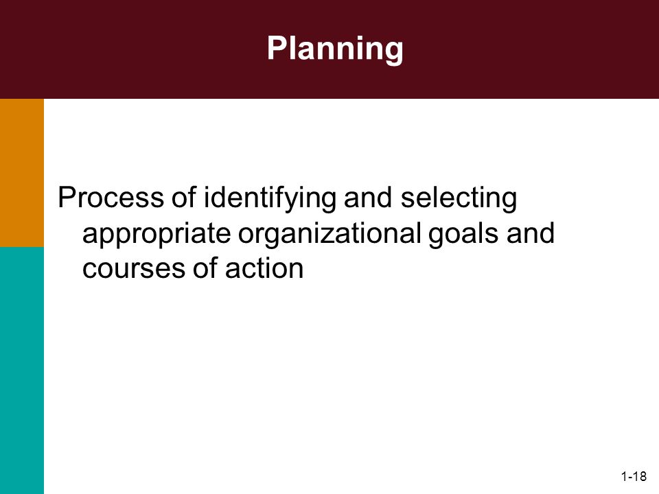 Planning Process of identifying and selecting appropriate organizational goals and courses of action.