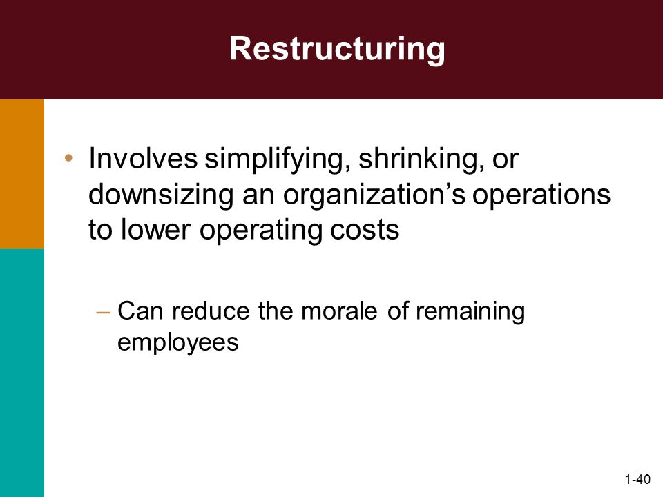 Restructuring Involves simplifying, shrinking, or downsizing an organization's operations to lower operating costs.