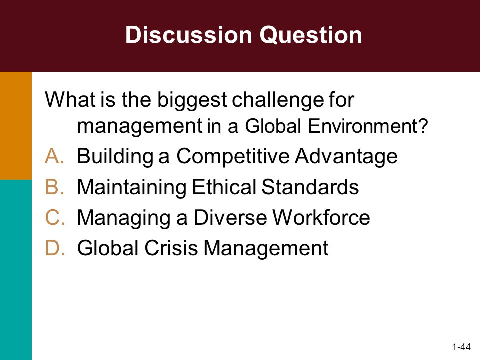 Discussion Question What is the biggest challenge for management in a Global Environment Building a Competitive Advantage.