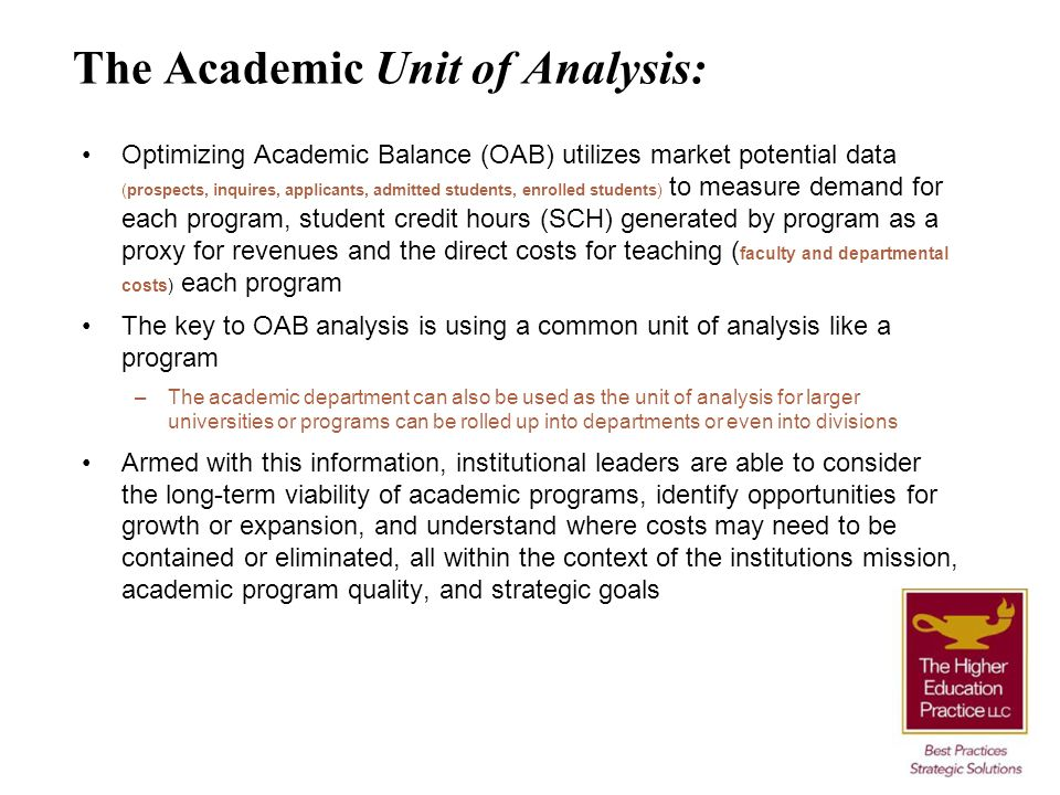 The Academic Unit of Analysis: