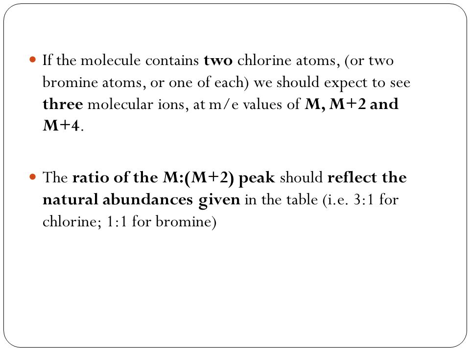 If the molecule contains two chlorine atoms, (or two bromine atoms, or one of each) we should expect to see three molecular ions, at m/e values of M, M+2 and M+4.