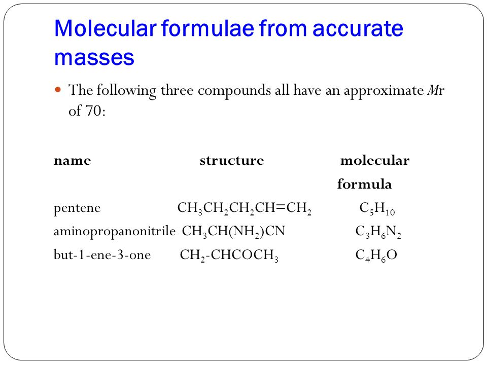 Molecular formulae from accurate masses