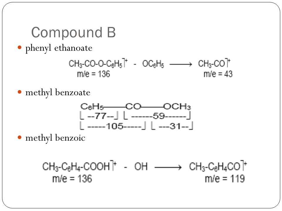 Compound B phenyl ethanoate methyl benzoate methyl benzoic