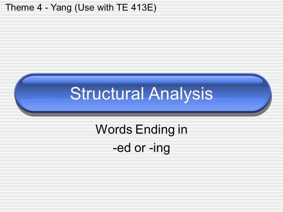 Words Ending in -ed or -ing