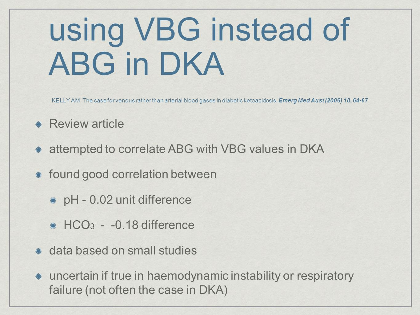 using VBG instead of ABG in DKA