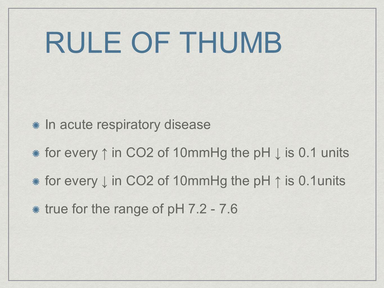 RULE OF THUMB In acute respiratory disease