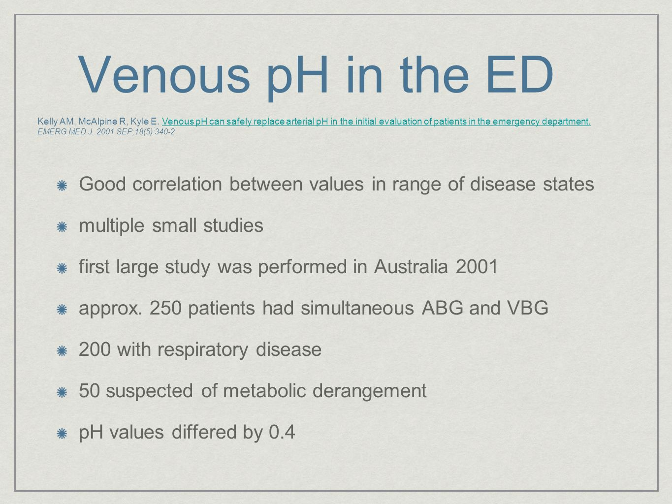 Venous pH in the ED