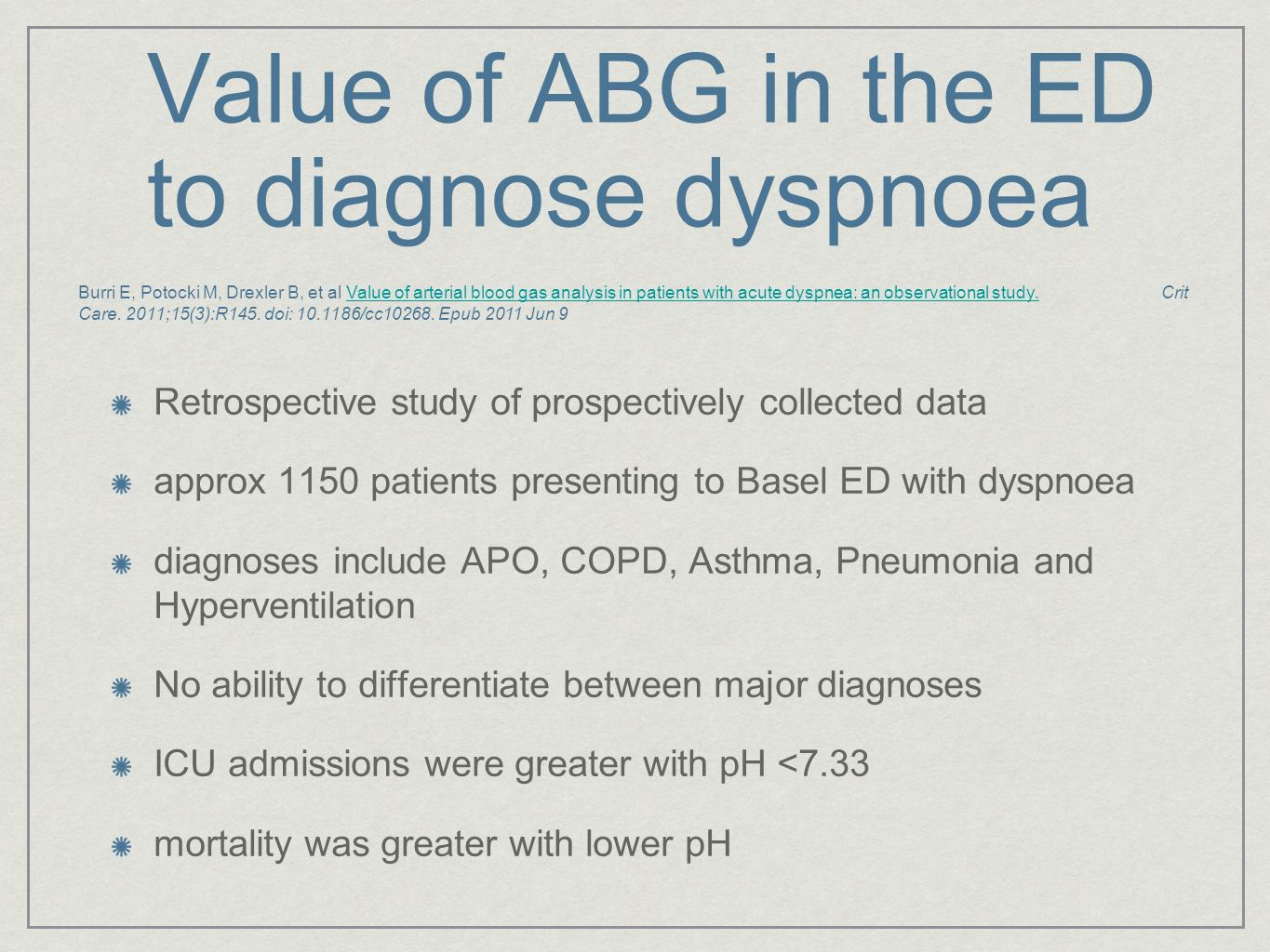 Value of ABG in the ED to diagnose dyspnoea