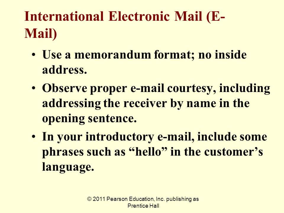 International Electronic Mail (E-Mail)