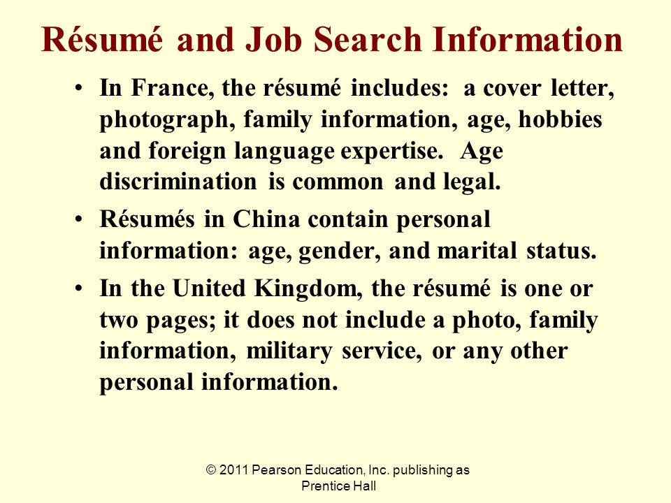 Résumé and Job Search Information