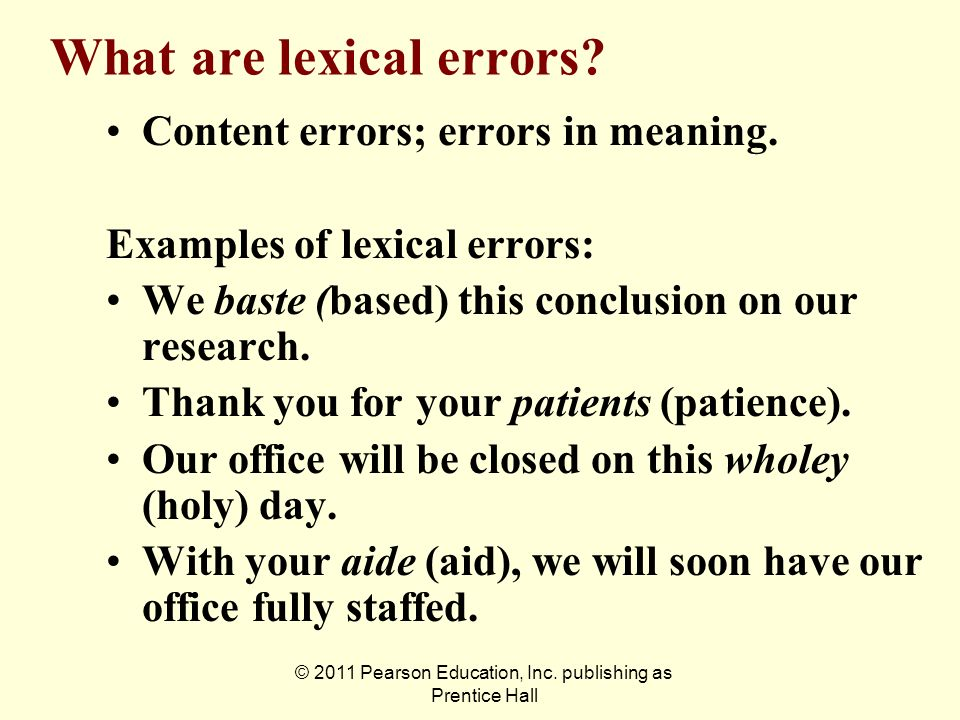 What are lexical errors