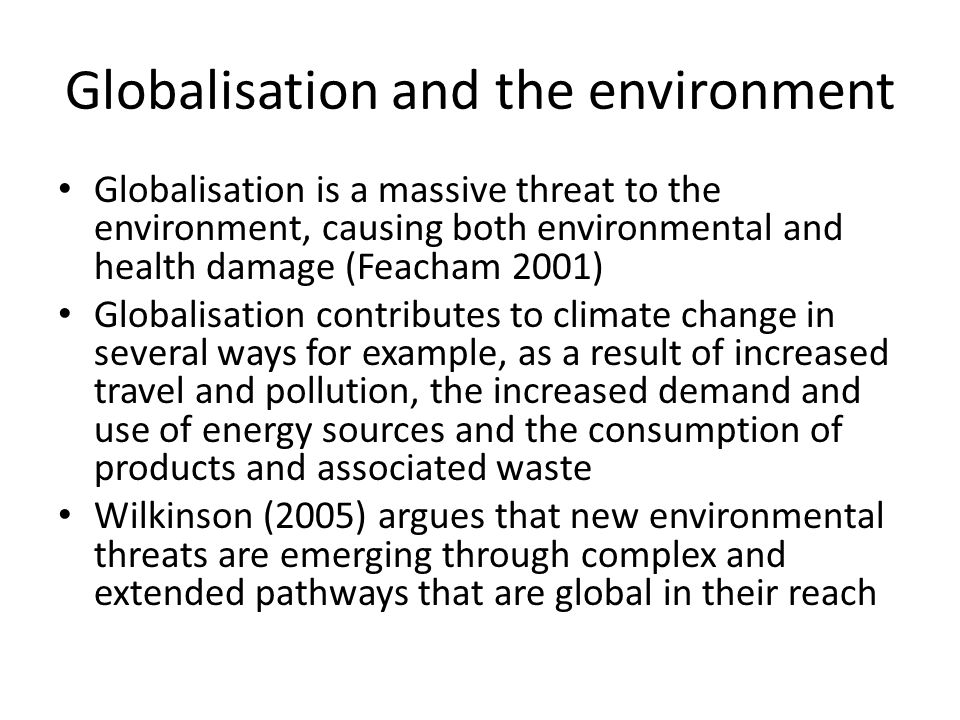 Globalisation and the environment