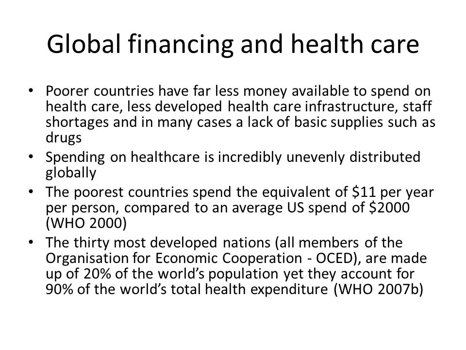 Global financing and health care