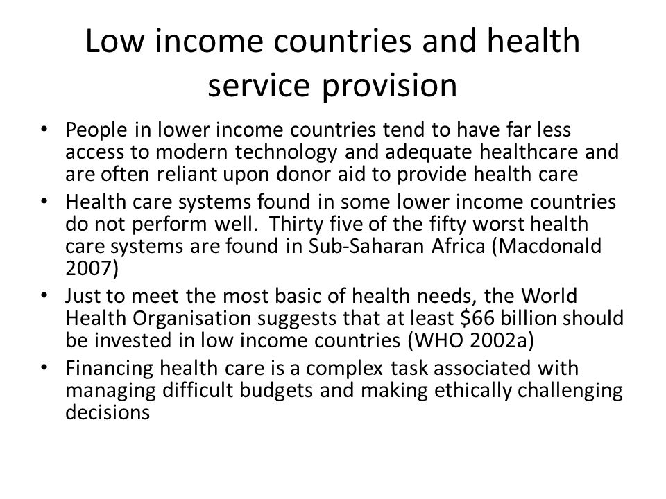 Low income countries and health service provision